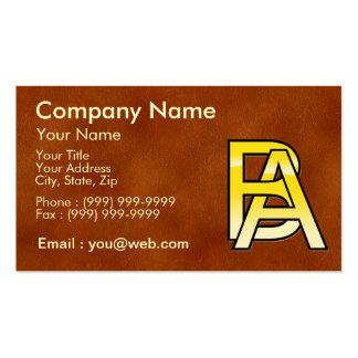 initiales B et A en or sur fond de cuir Cartes De Visite Professionnelles