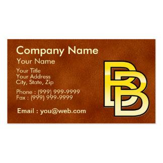 initiales B et B en or sur fond de cuir Cartes De Visite Personnelles