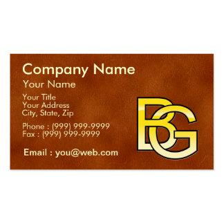initiales B et G en or sur fond de cuir Cartes De Visite Professionnelles