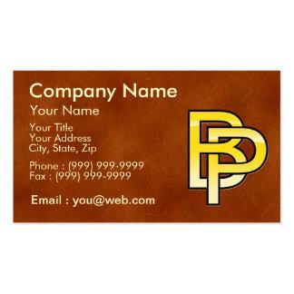initiales B et P en or sur fond de cuir Carte De Visite