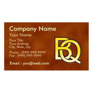 initiales B et Q en or sur fond de cuir Cartes De Visite Personnelles