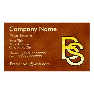 initiales B et S en or sur fond de cuir Cartes De Visite Professionnelles