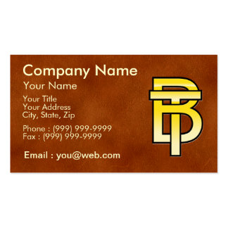 initiales B et T en or sur fond de cuir Cartes De Visite Personnelles