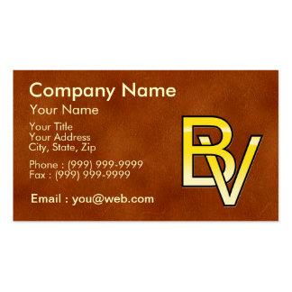 initiales B et V en or sur fond de cuir Carte De Visite
