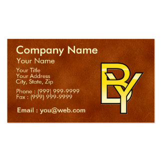 initiales B et Y en or sur fond de cuir Modèle De Carte De Visite