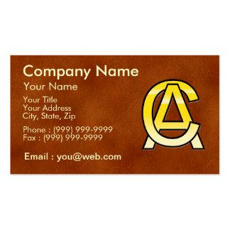 initiales C et A en or sur fond de cuir Modèles De Cartes De Visite