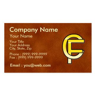 initiales C et F en or sur fond de cuir Cartes De Visite Professionnelles