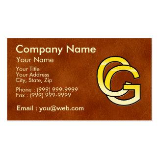 initiales C et G en or sur fond de cuir Cartes De Visite Personnelles