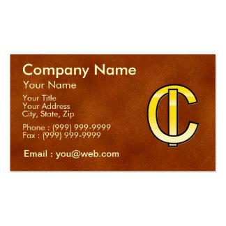 initiales C et I en or sur fond de cuir Cartes De Visite Personnelles