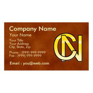 initiales C et N en or Carte De Visite