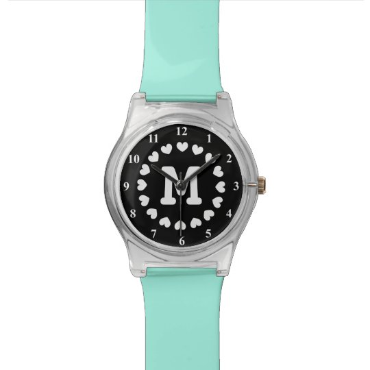 Initialled watch for women with heart monogram