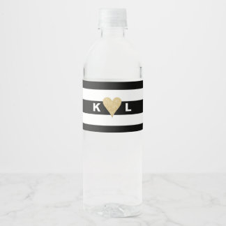 Initials and Gold Heart on Black Stripes Wedding Water Bottle Label