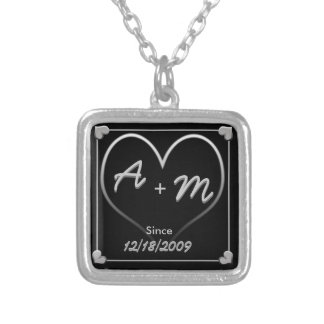 Initials and Heart with Date and Since Silver Plated Necklace