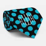 Initials Aqua Black Polka Dots Tie