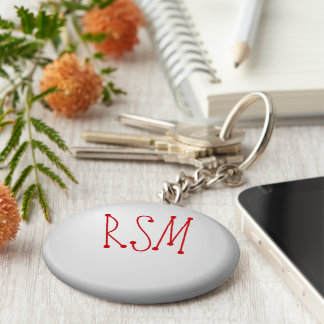 Initials Basic Round Button Key Ring