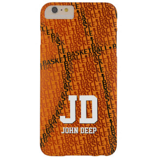 Initials Basketball Typed Text | Sport Gift Barely There iPhone 6 Plus Case