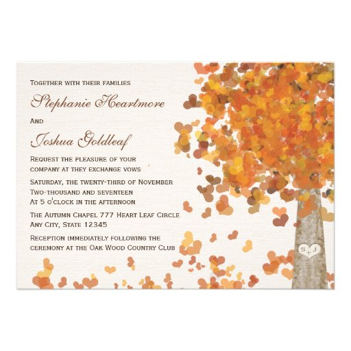 Initials Carved in a Tree Wedding Invitations