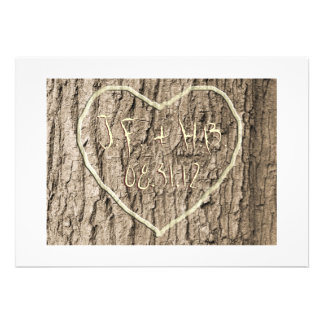 Initials Carved in Tree Save the Date Personalized Announcements