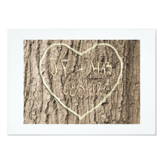 Initials Carved in Tree Save the Date Personalized Invitation