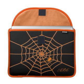 Initials customized orange spider on web sleeve for MacBooks