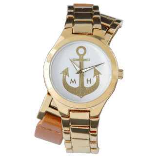initials & golden anchor watches