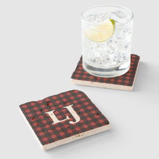 Initials Lumberjack Red Black Buffalo Plaid Stone Coaster