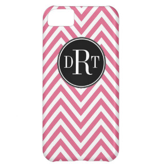 Initials Pink White Chevron Pattern iPhone 5C Cover