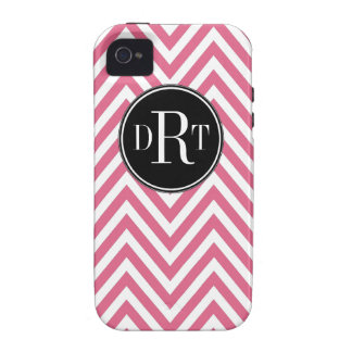 Initials Pink White Chevron Pattern Case-Mate iPhone 4 Covers