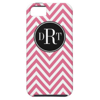 Initials Pink White Chevron Pattern iPhone 5 Case