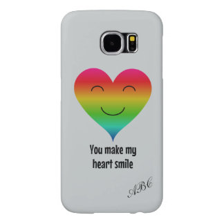 Initials rainbow heart customized gray samsung galaxy s6 cases