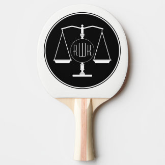 Initials Scales of Justice Ping Pong Paddle