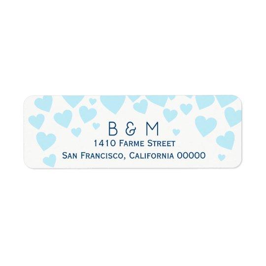 initials with blue love hearts wedding return address label