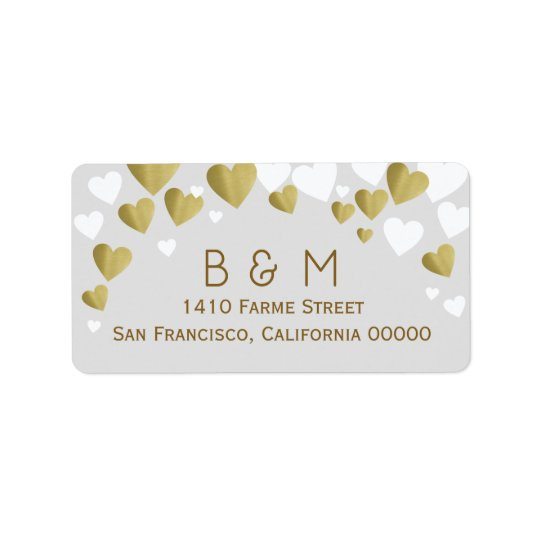 initials with faux gold love hearts, couple address label