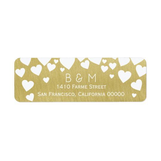 initials with love hearts on faux gold wedding