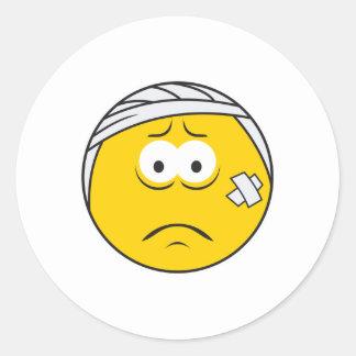 Injured Boo boo Smiley Face Round Sticker