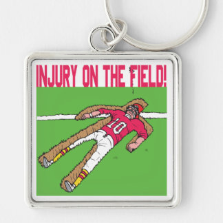 Injury On The Field Silver-Colored Square Key Ring