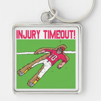 Injury Timeout Silver-Colored Square Key Ring