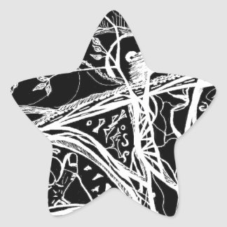 Ink abstract design with trees and eyes star sticker