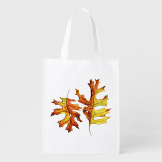 Ink And Watercolor  Autumn Leaves Nature Lover Reusable Grocery Bag
