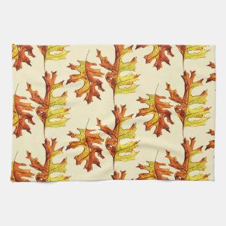Ink And Watercolor Dancing Autumn Leaves Pattern Tea Towel