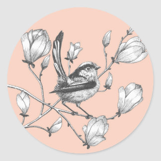 ink bird on magnolia tree pink sticker