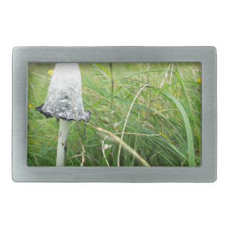 Ink cap mushroom in field rectangular belt buckle