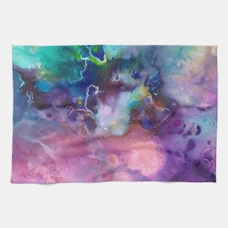ink colorful purple gold texture pattern paint tea towel
