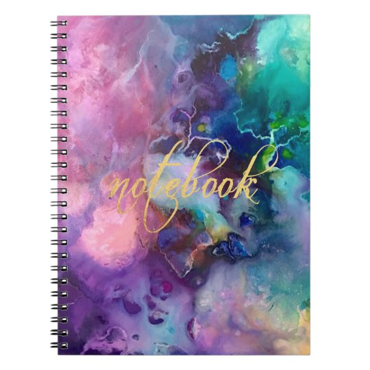 ink colourful purple gold texture pattern paint notebook