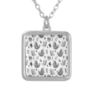 Ink Crystals Square Pendant Necklace