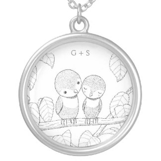Ink Drawing Love Birds Custom Monogram Necklace