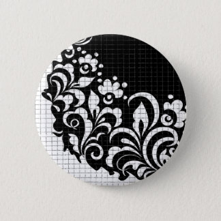 ink flowers 6 cm round badge