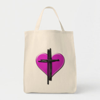 Ink Heart & Cross Canvas Bag