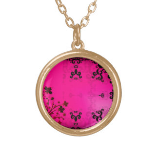 Ink in Pink Round Pendant Necklace