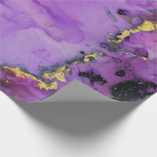 Ink Liquid Paint Urban Amethyst Purple Black Pink Wrapping Paper